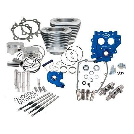 "S&S 100"" Power Package for Twin Cam 88 Models with 585 Easy Start Cams - Silver"