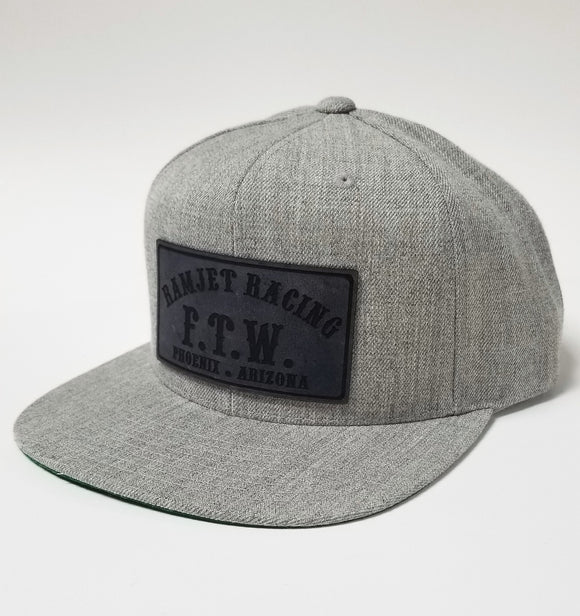 Ramjet Racing Grey Leather Trucker Hat