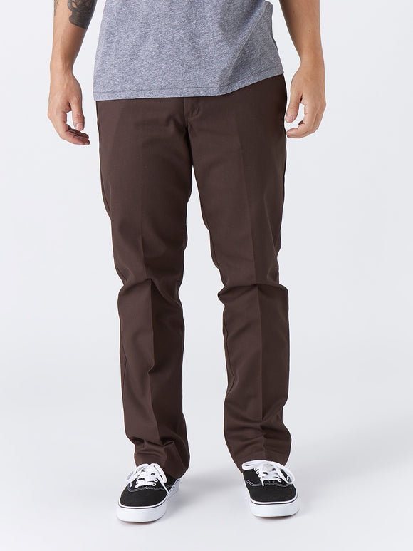 Dickies '67 Slim Fit Stretch Straight Leg Work Pants - Chocolate Brown