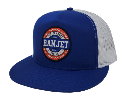 RAMJET RACING CHECKERBOARD TRUCKER SNAPBACK ROYAL BLUE