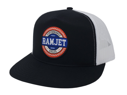 RAMJET RACING CHECKERBOARD TRUCKER SNAPBACK BLACK AND WHITE