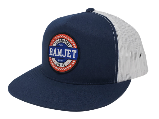 RAMJET RACING CHECKERBOARD TRUCKER SNAPBACK DENIM