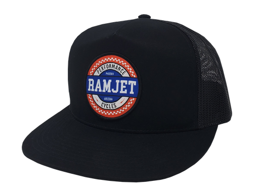 RAMJET RACING CHECKERBOARD TRUCKER SNAPBACK BLACK
