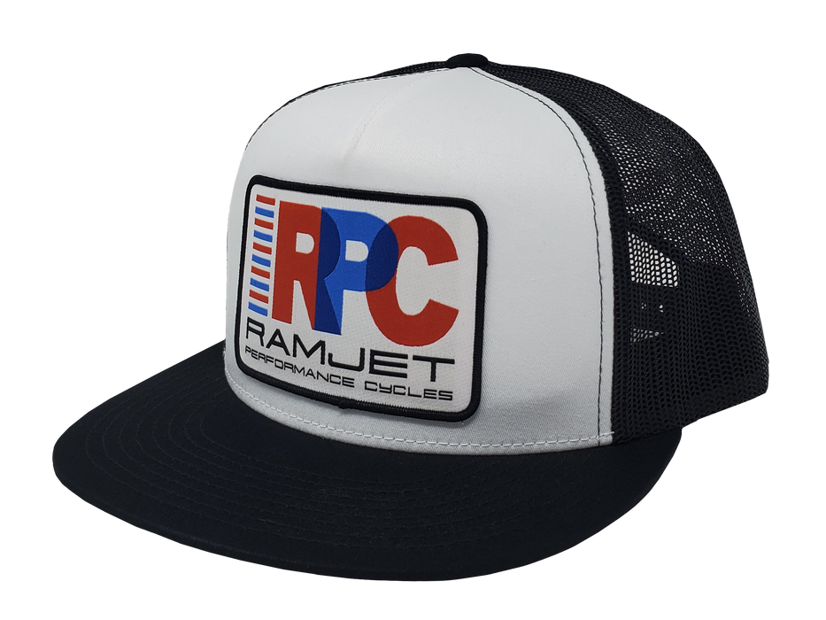 RAMJET RACING RPC TRUCKER SNAPBACK WHITE AND BLACK