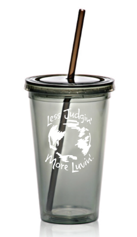 16oz. Acrylic Cup with Straw Charcoal