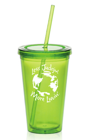 16oz. Acrylic Cup with Straw Lime Green