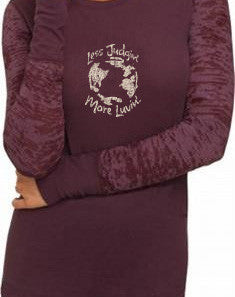 Women's Long Sleeve Burnout Plum