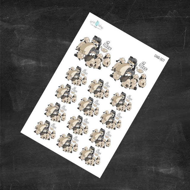 "Planner Stickers Larry ""da Flock?"" Sheeple Characters"