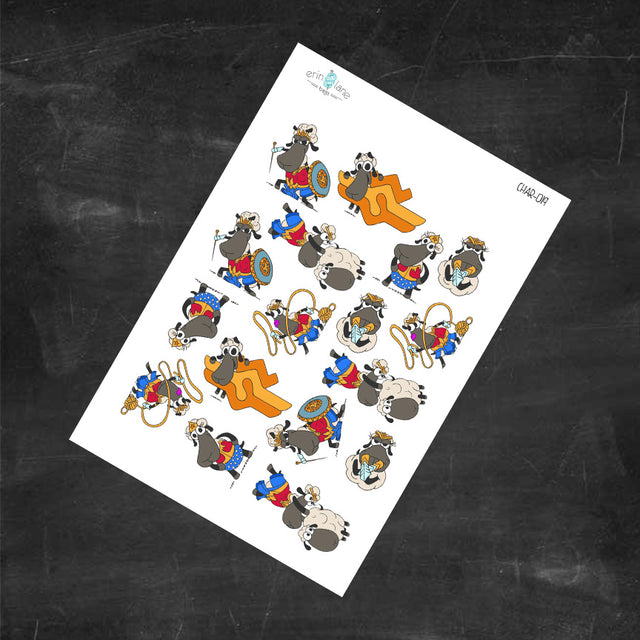 Planner Stickers Wonder Woman Sheeple Characters