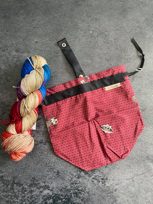 Burgundy Sock Project Bag Pairing with Destination Yarn's Fox Theater