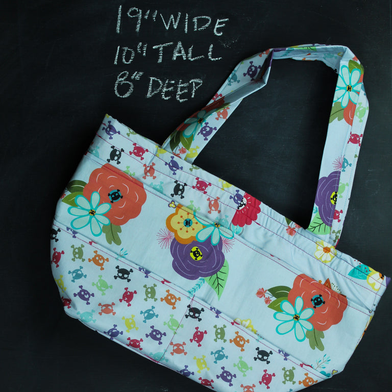 Barrel Tote Bag in Gothic Floral