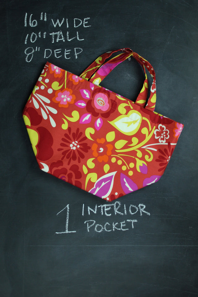 Bucket Tote Bag in Red Floral