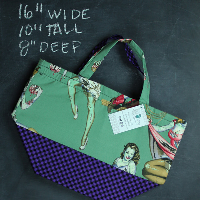 Bucket Tote Bag in Green Zombie Pinups