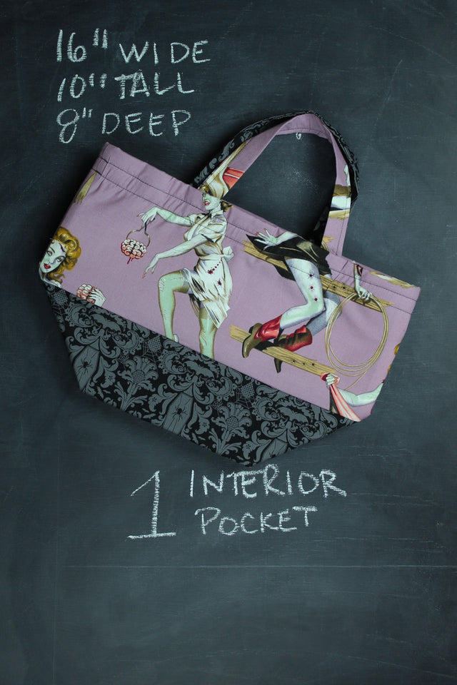 Bucket Tote Bag in Purple Zombie Pinups