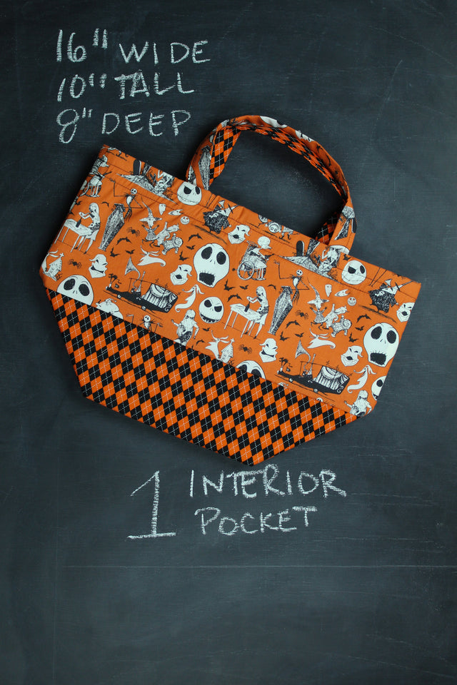 Bucket Tote Bag in Orange Jack Skellington