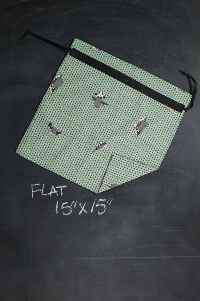 Large Project Bag in Green Peeky Sheeple