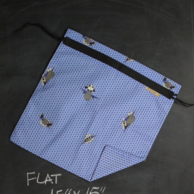 Large Project Bag in Blue Peeky Sheeple
