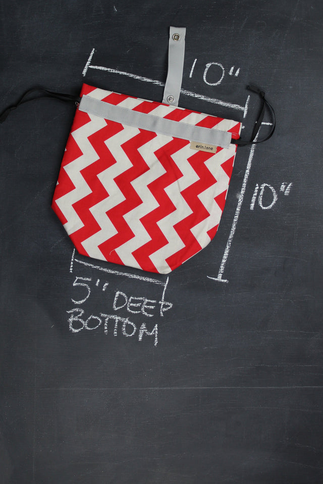 Sock Project Bag in Red and Grey Chevron