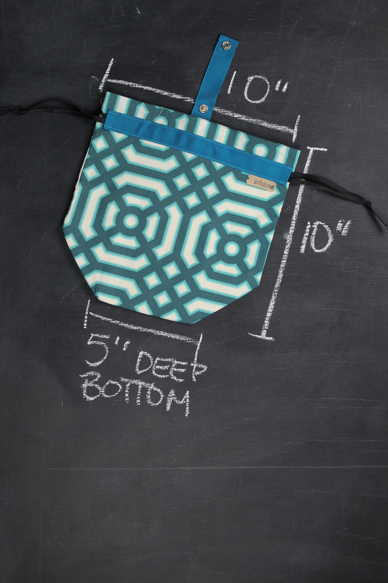 Sock Project Bag in Teal Lattice