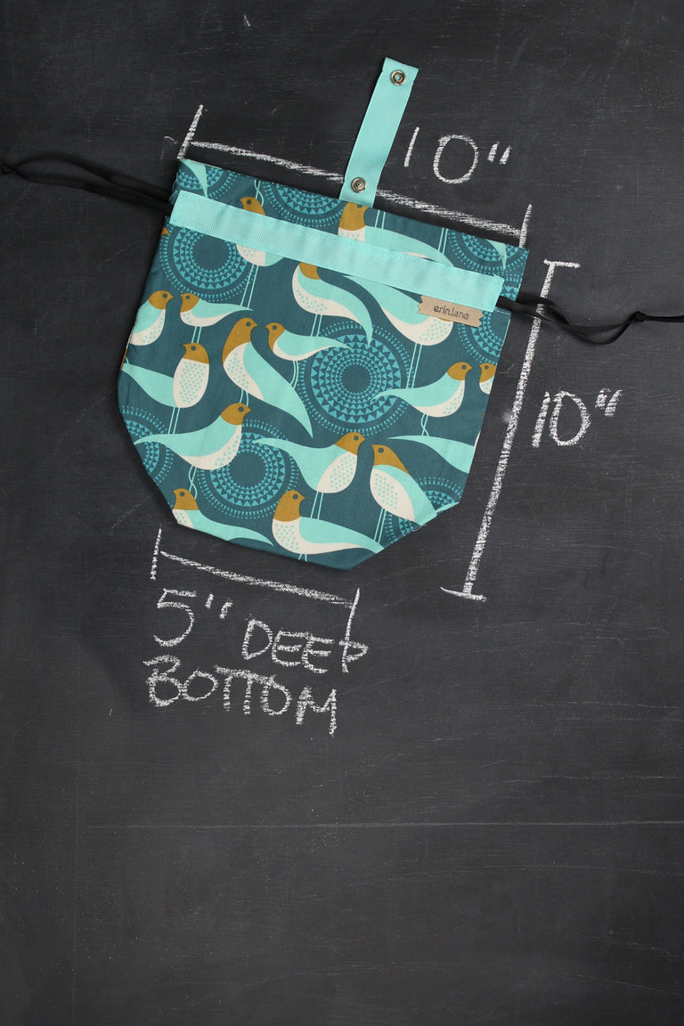 Sock Project Bag in Teal Birds