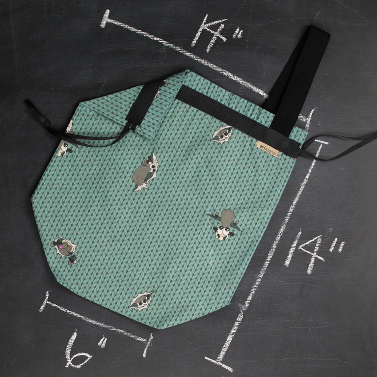 Sweater Project Bag in Teal Peeky Sheeple