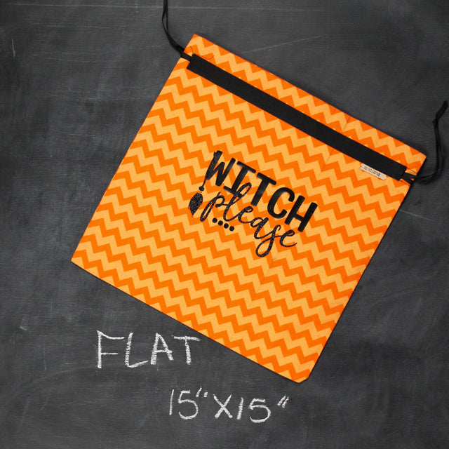 Large Project Bag in Orange Chevron Witch Please