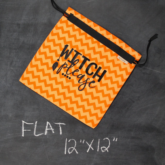 Small Project Bag in Orange Chevron Witch Please