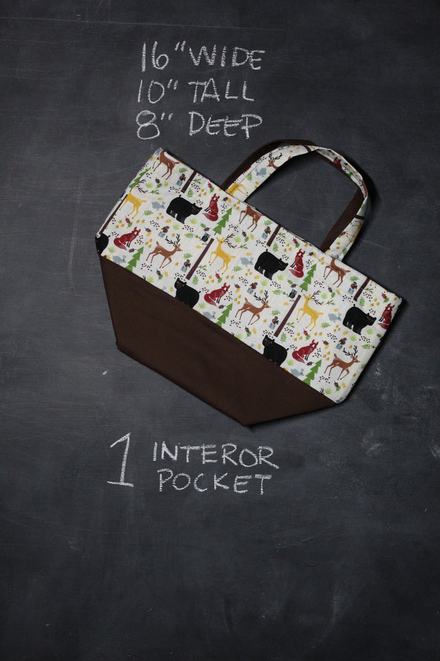 Bucket Tote Bag in Woodland Creatures
