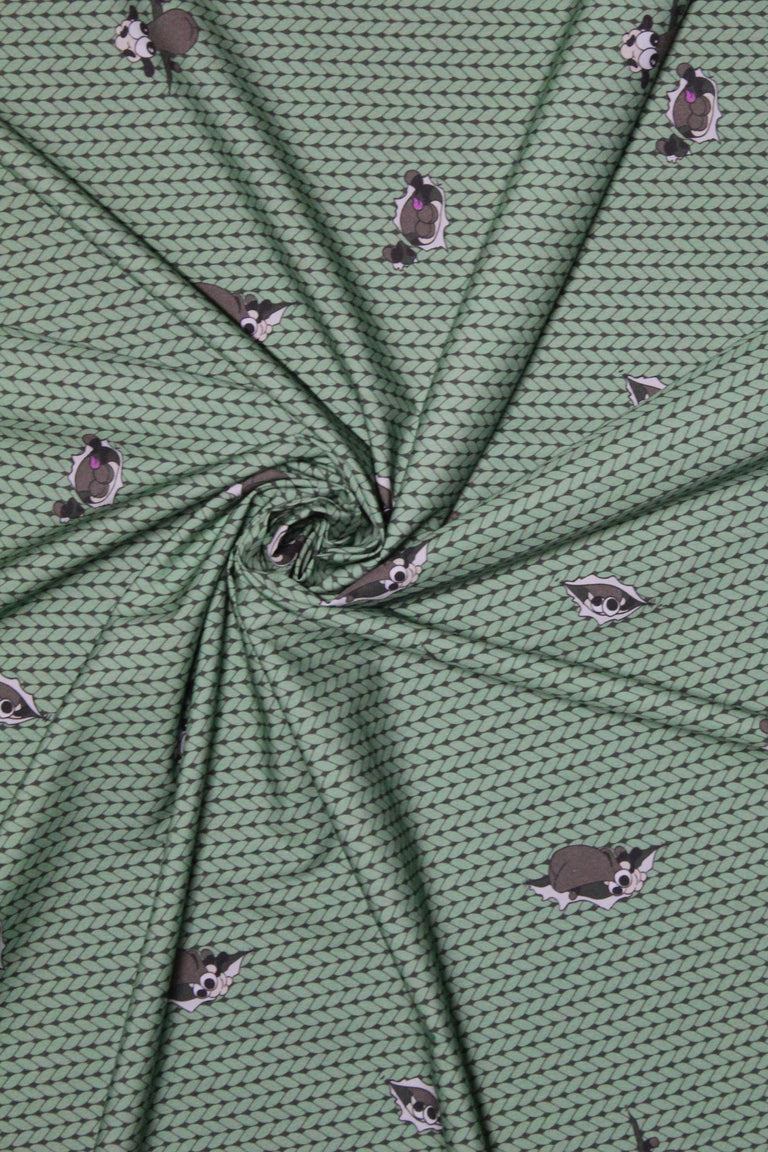 Half Yard of Green Stockinette Sheeple Fabric