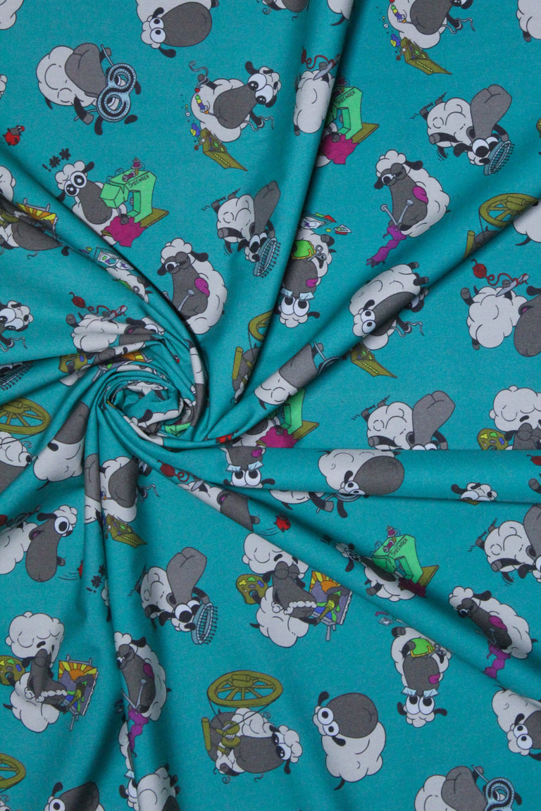 Half Yard of Crafting Sheeple Fabric