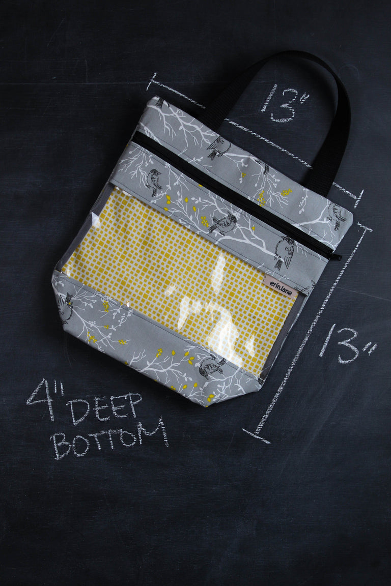 View Ewe Tote Bag in Grey and Yellow Birds