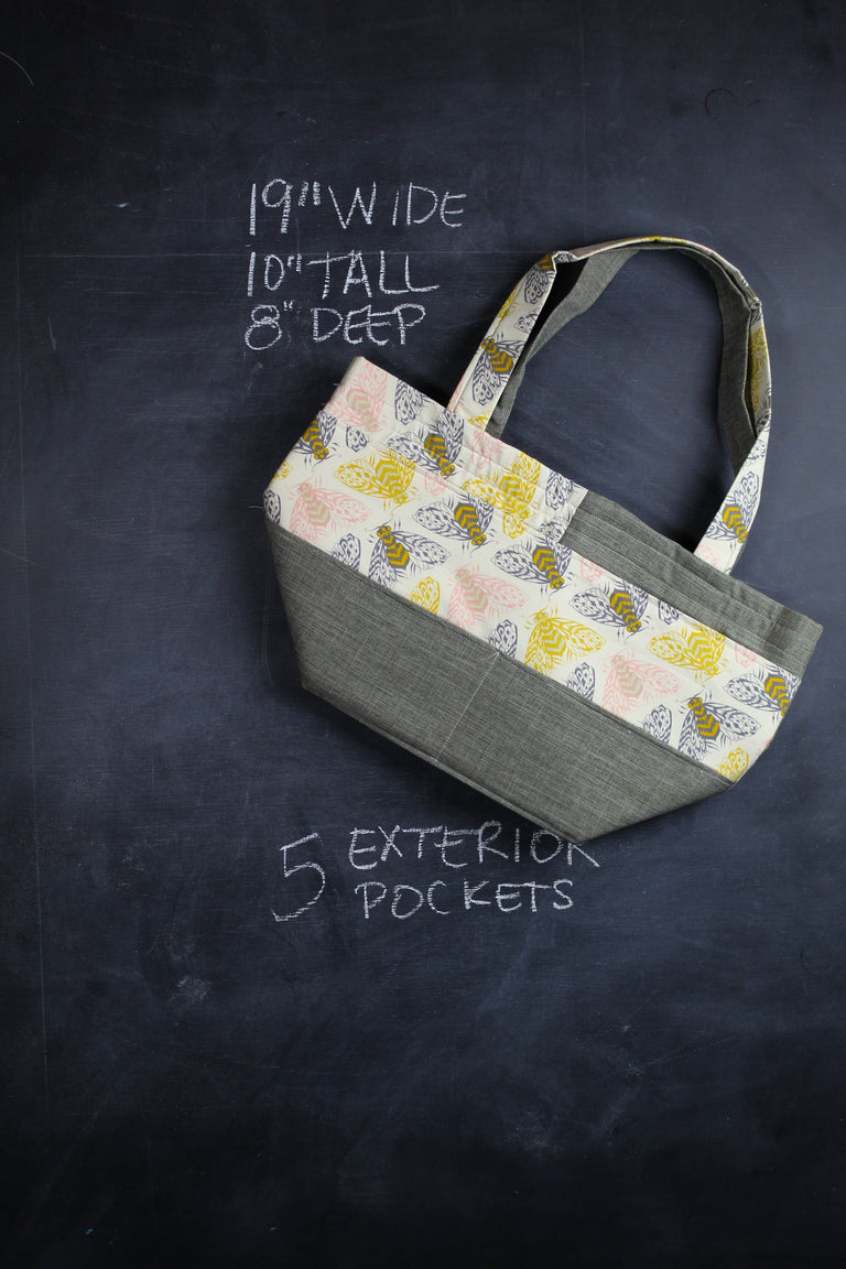 Barrel Tote Bag in Bees