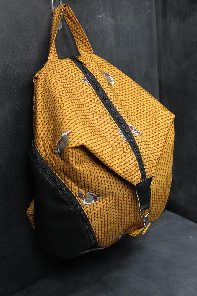 Denver Backpack in Gold and Red Stockinette