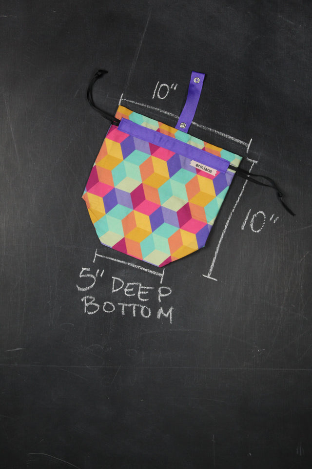Sock Project Bag in 80's Mall Blocks