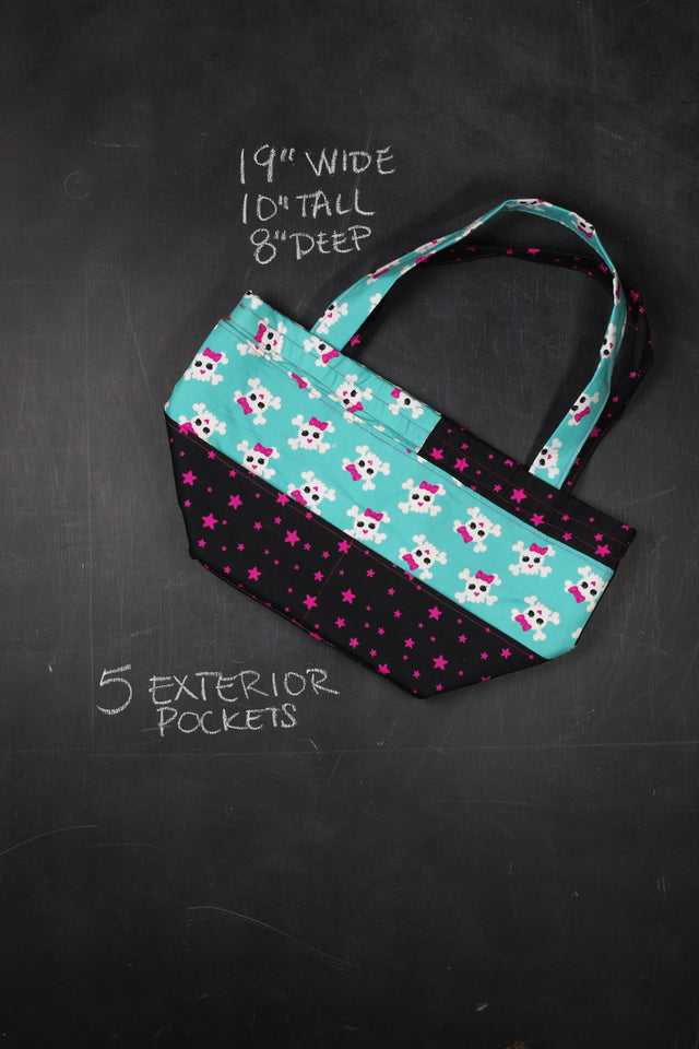 Barrel Tote Bag in 90's Bones and Bows
