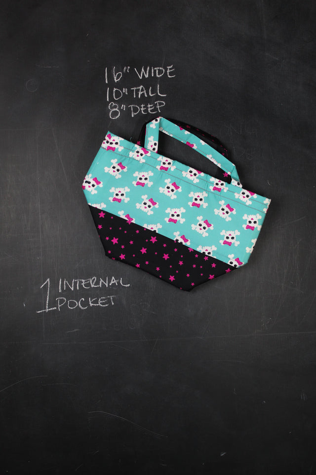Bucket Tote Bag in 90's Bones and Bows