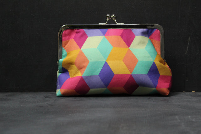 Chomp Chomp Clutch Bag in 80's Mall Blocks