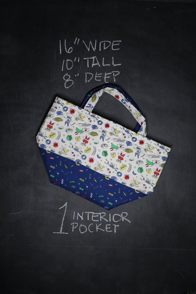 Bucket Tote Bag in Superheroes