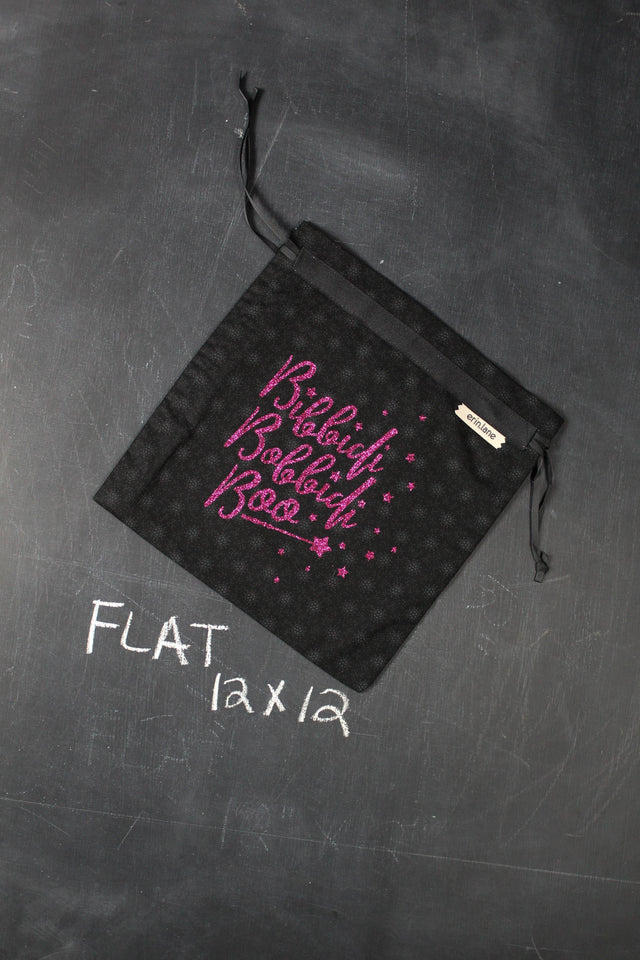 "Small Project Bag in Black with Pink Glitter ""Bibbiti, Bobbiti, Boo"""