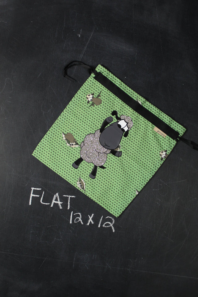 Small Project Bag in Green Stockinette with Silver Glitter Sheeple