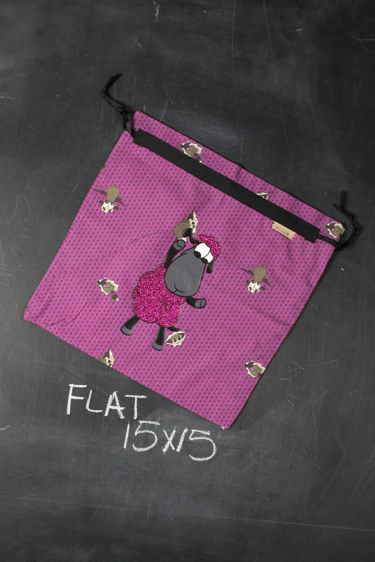 Small Project Bag in Wine Stockinette with Pink Glitter Sheeple