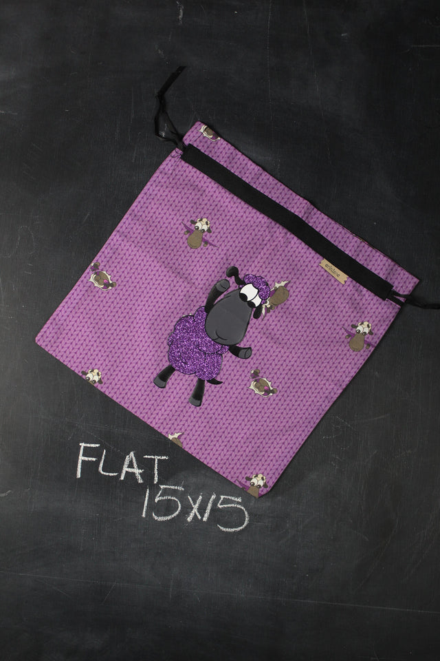 Large Project Bag in Plum Stockinette with Plum Glitter Sheeple
