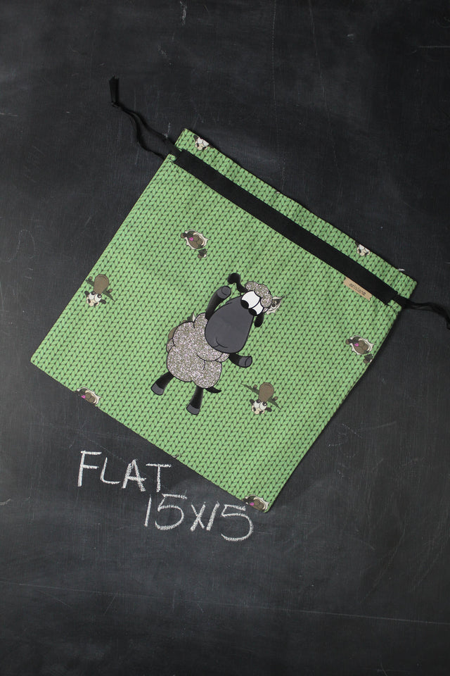 Large Project Bag in Green Stockinette with Silver Glitter Sheeple