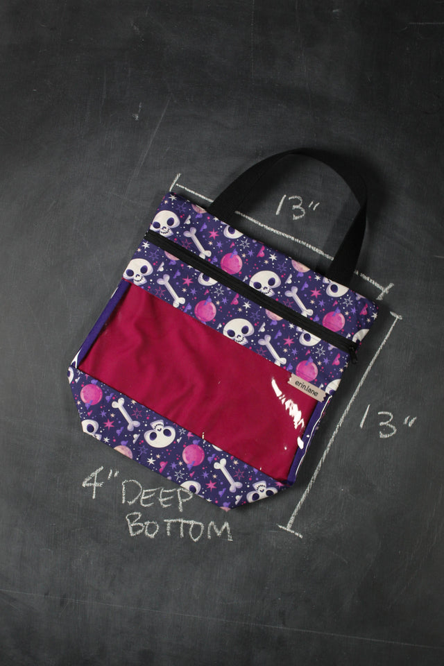 View Ewe Tote Bag in Cartoon Moons and Skulls