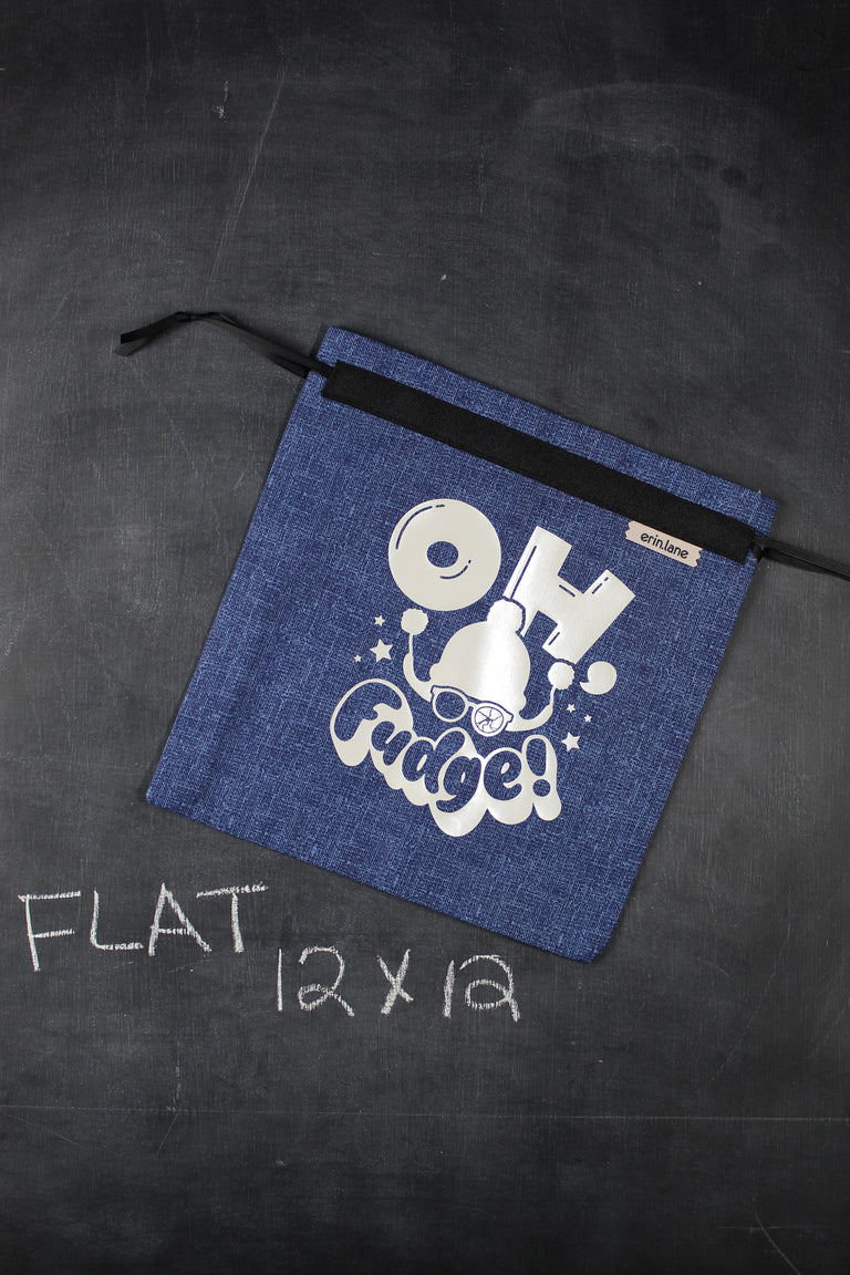 "Small Project Bag in Blue with Pearl ""Oh, Fudge!"""
