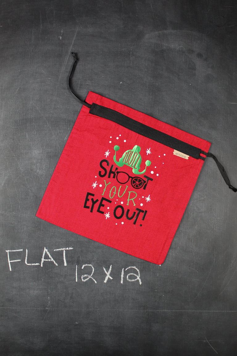 "Small Project Bag in Red with Green ""Go Elf Yourself."""