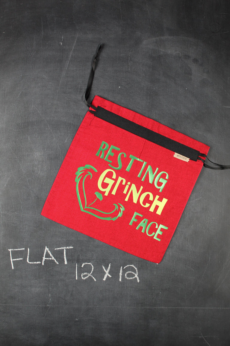 "Small Project Bag in Red with Green ""Resting Grinch Face"""