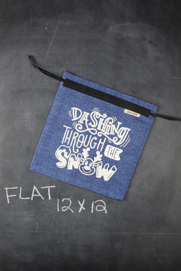 "Small Project Bag in Blue with White ""Dashing Through the Snow"""