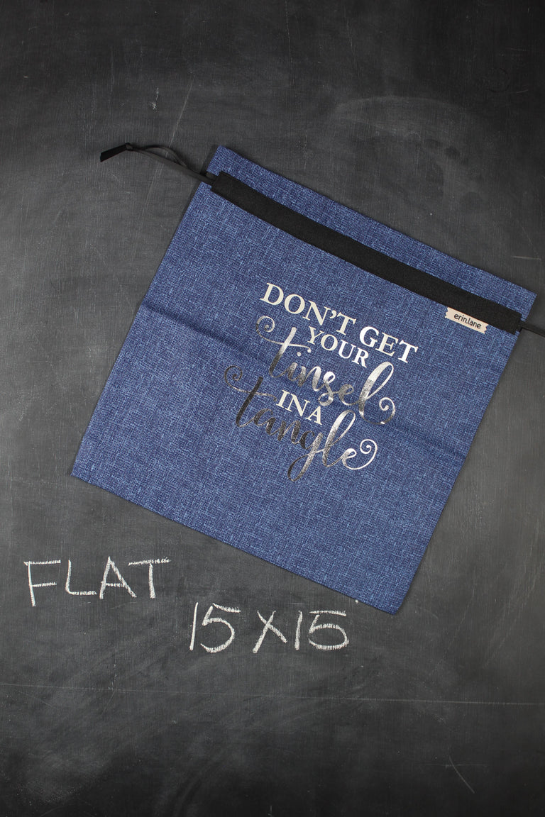 "Large Project Bag in Blue with Silver ""Don't Get Your Tinsel in a Tangle"""
