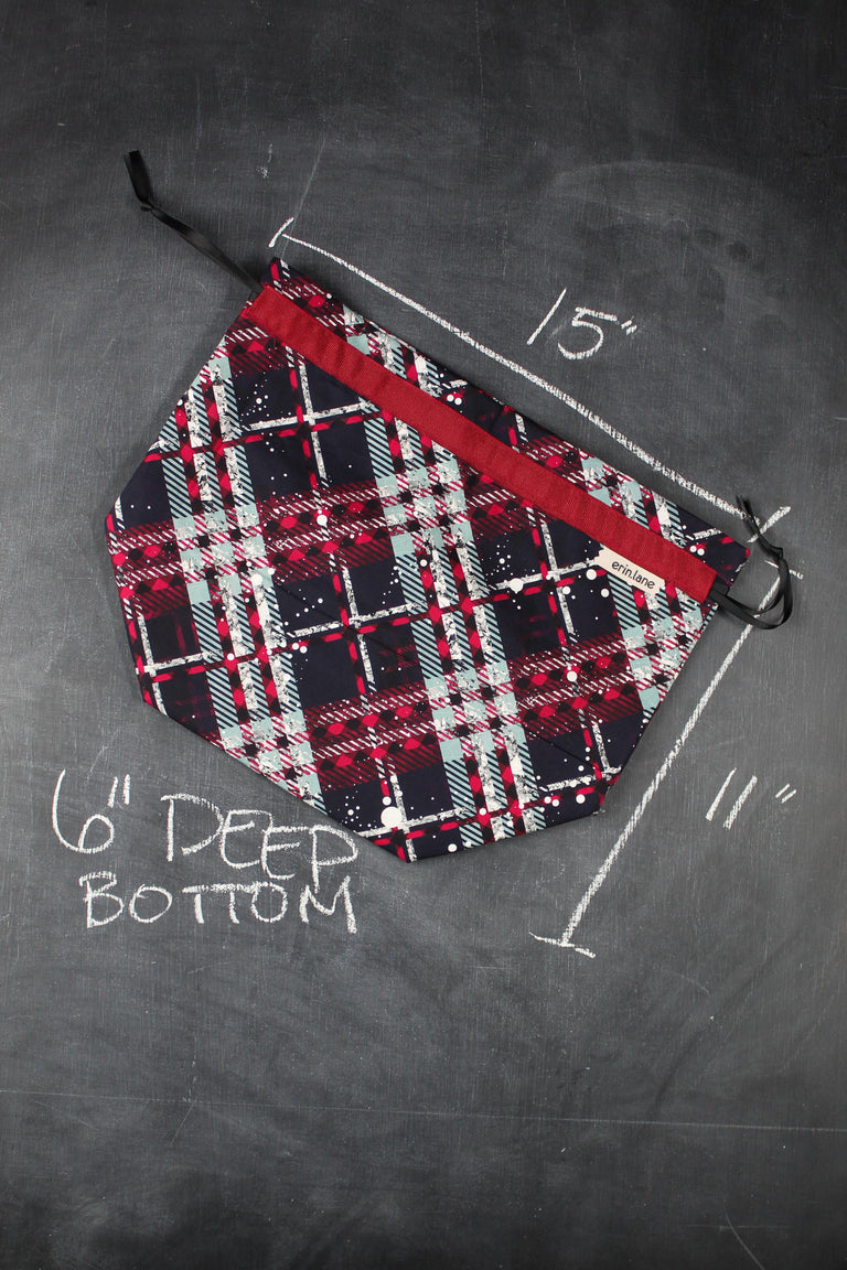 Oops Project Bag in Christmas Plaid
